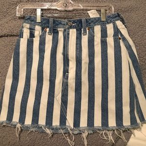 White Stripped Denim Skirt